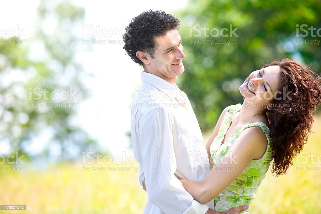 young beautiful couple in love outdoor royalty-free stock photo