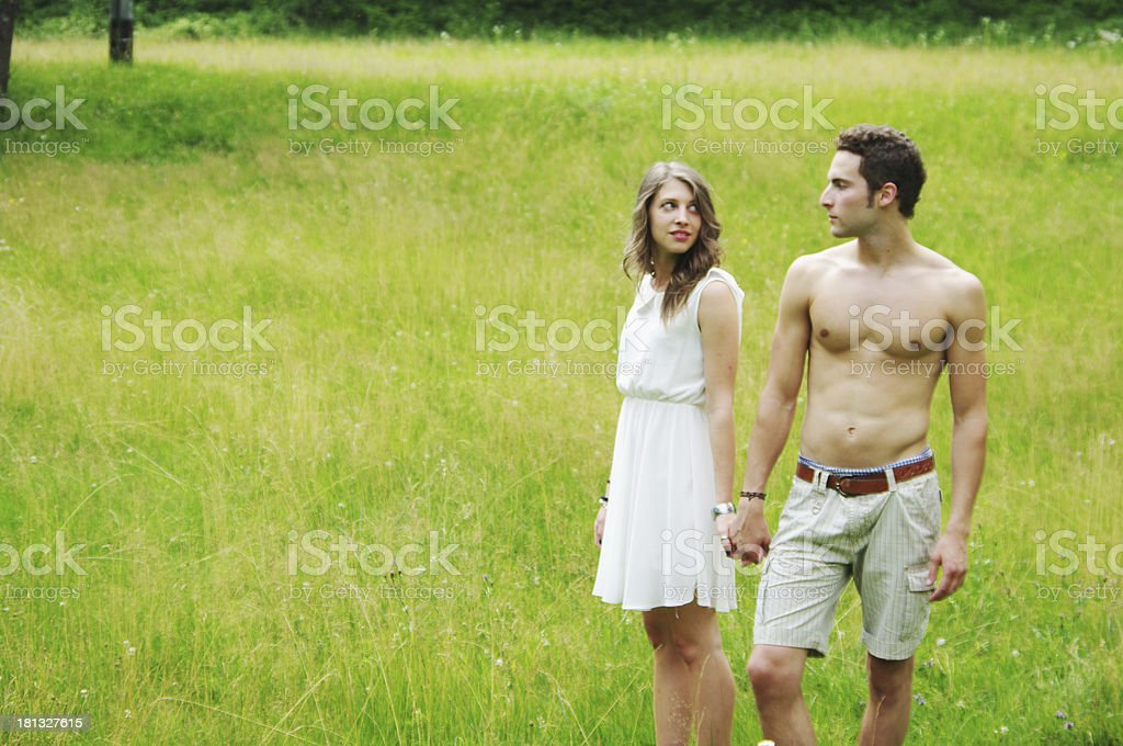 young beautiful couple in love outdoor stock photo