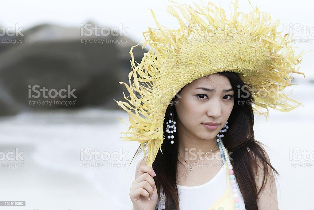 young beautiful girl at seaside stock photo