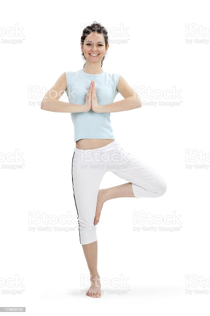 young beautiful girl fitness yoga pose isolated on white stock photo