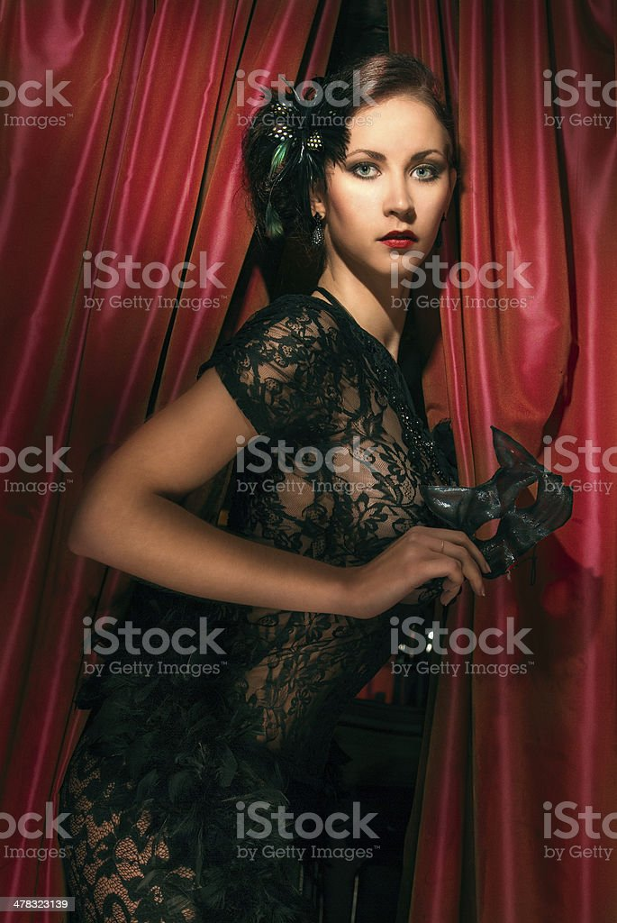 young beautiful girl in black lingerie royalty-free stock photo