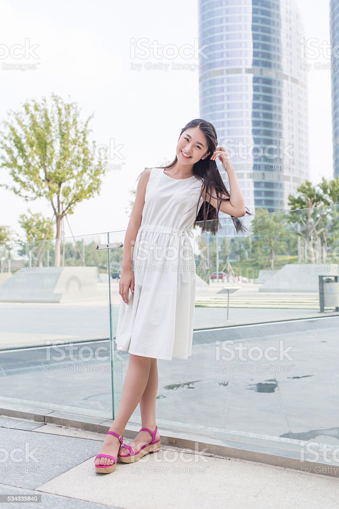 young beautiful girl in the outdoors stock photo