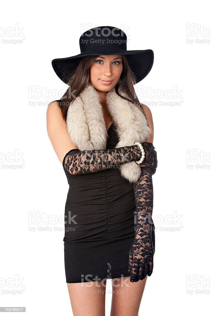 Junge schöne Mädchen mit schwarzen Hut Lizenzfreies stock-foto