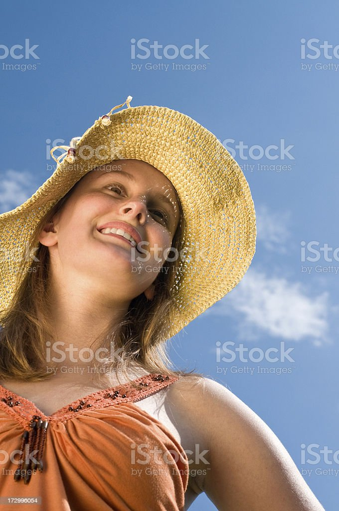 young beautiful girl with casual clothes and hat royalty-free stock photo