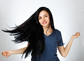 Young beautiful girl with healthy hair