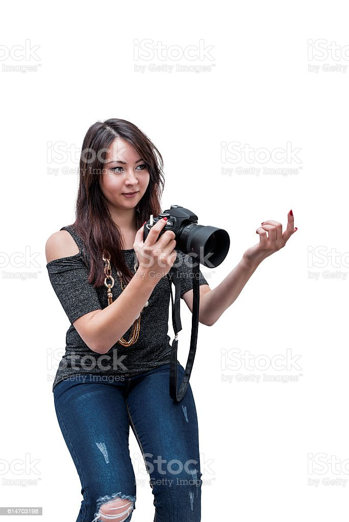 young beautiful girl with the camera stock photo