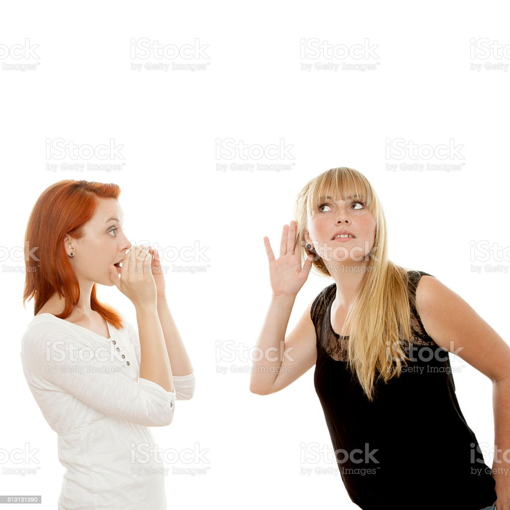 young beautiful  girls sign can you hear me stock photo