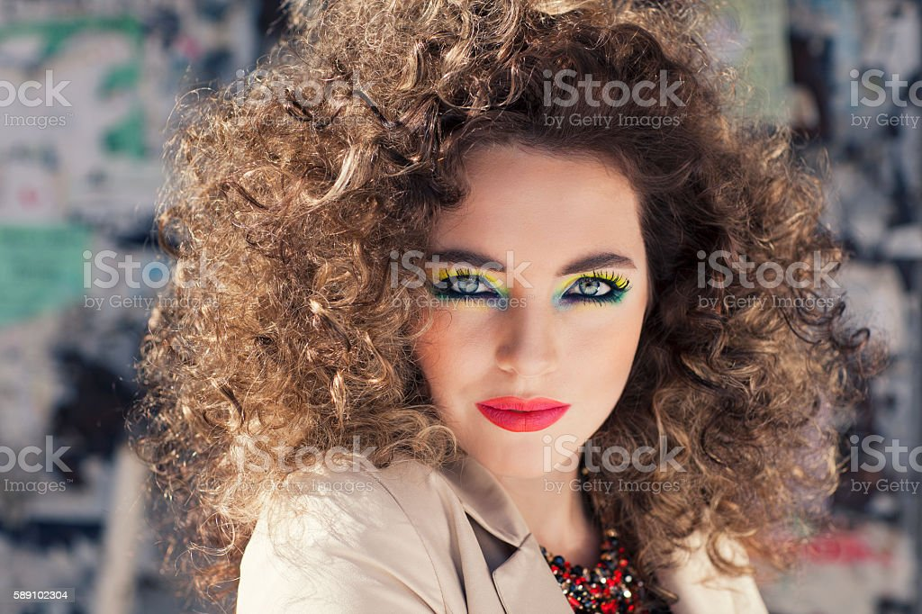 Young beautiful model with bright make-up. stock photo