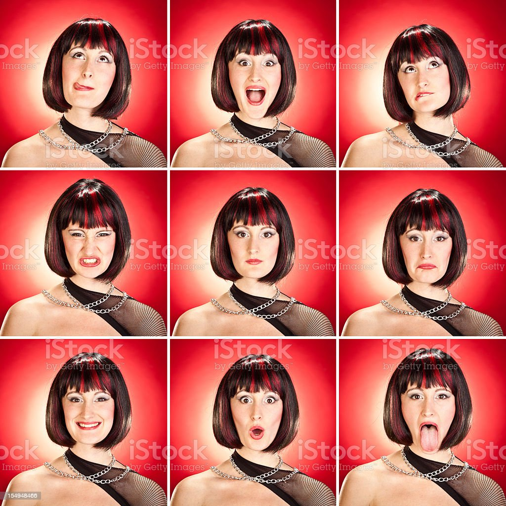 young beautiful rock singer girl squared expression set on red royalty-free stock photo
