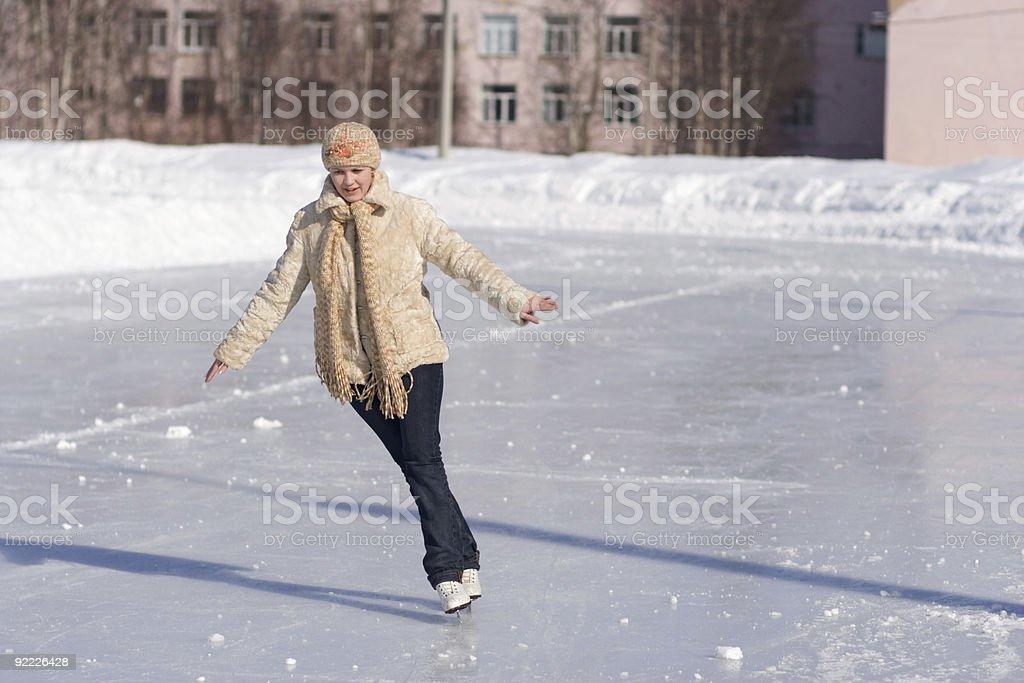 Young beautiful skater girl stock photo