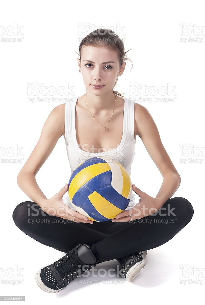 Young beautiful volleyball player stock photo