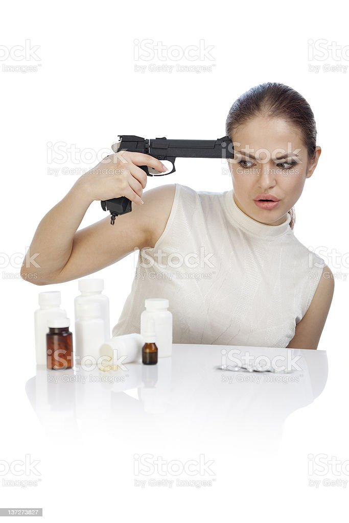 Young beautiful woman amazed by heavy price of medicines. royalty-free stock photo