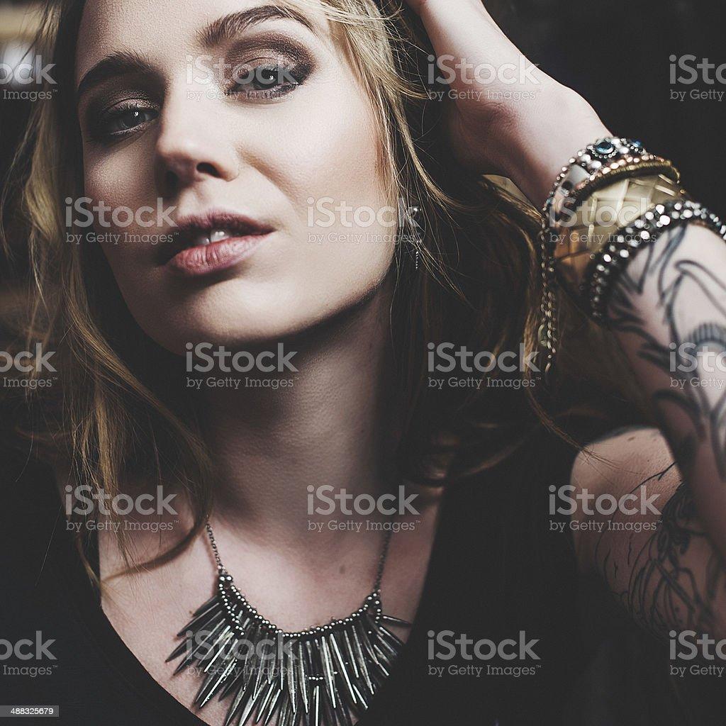 Young beautiful woman close-up royalty-free stock photo
