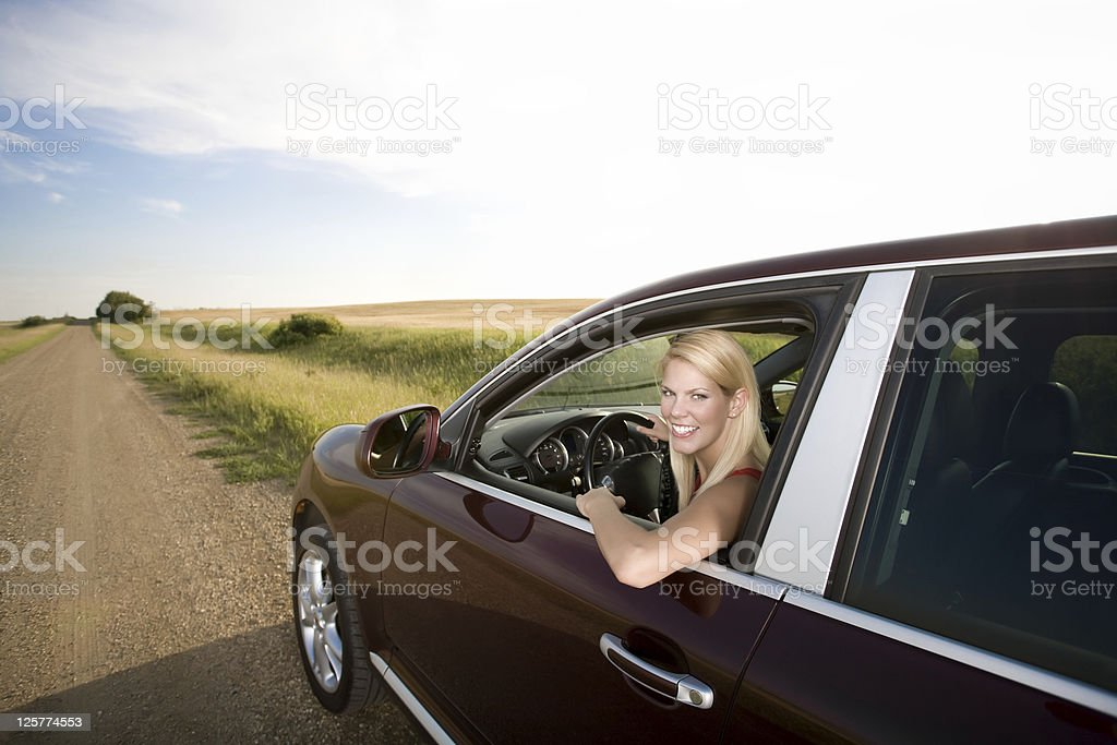 Young beautiful woman driving royalty-free stock photo