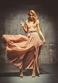 Young Beautiful Woman In Evening Dress