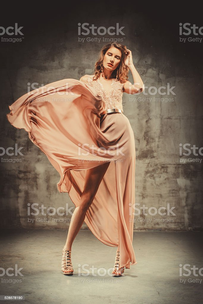 Young Beautiful Woman In Evening Dress stock photo