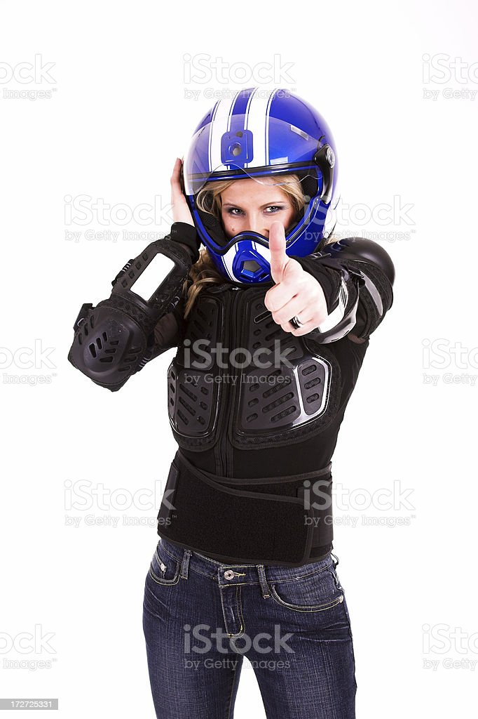 Young beautiful woman in motoracer uniform royalty-free stock photo
