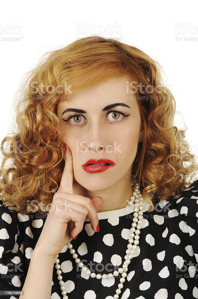 young beautiful  woman in retro dress royalty-free stock photo