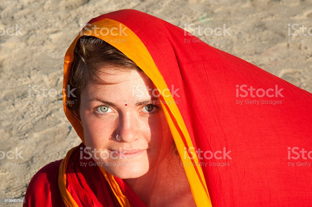 young beautiful  woman in saree stock photo