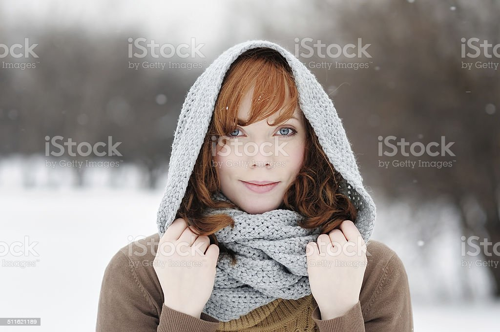 Young beautiful woman in winter stock photo