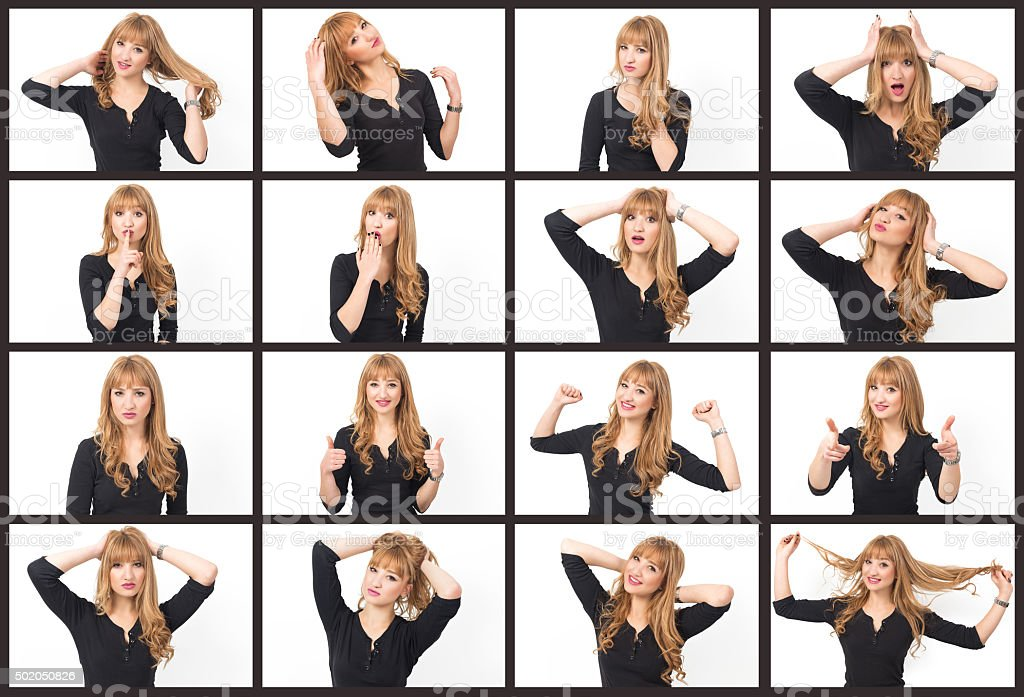 Young beautiful woman making 16 different expressions stock photo