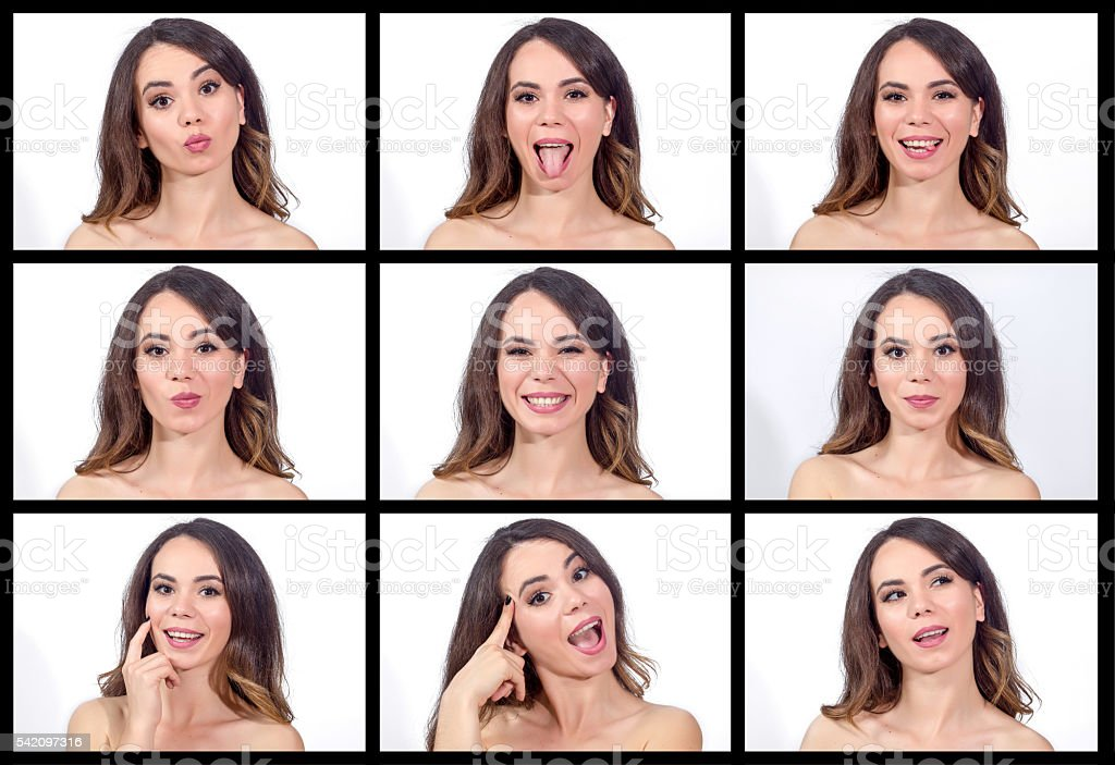 Young beautiful woman making 9 different expressions stock photo