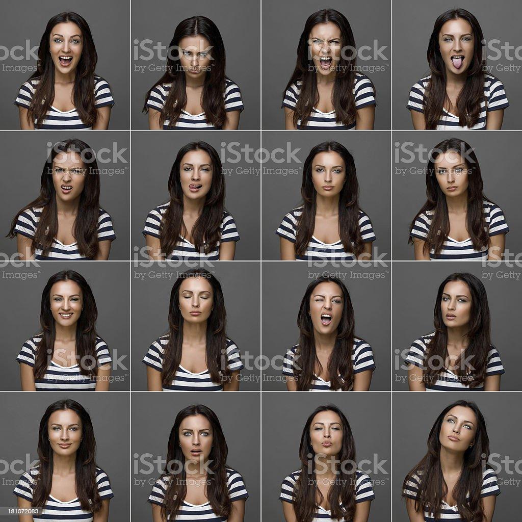 Young beautiful woman making various facial expressions, studio shot royalty-free stock photo