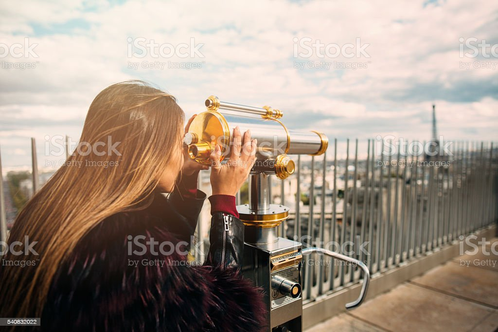 Young beautiful woman on observation deck stock photo