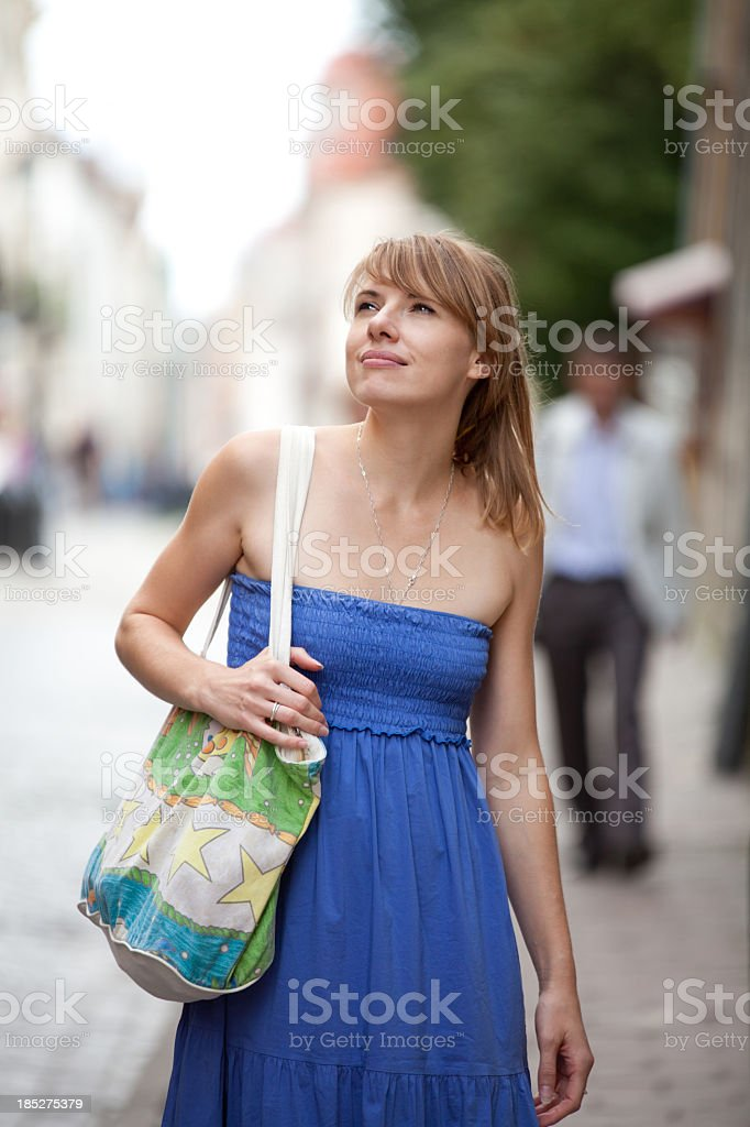 Young Beautiful Woman On The Street royalty-free stock photo