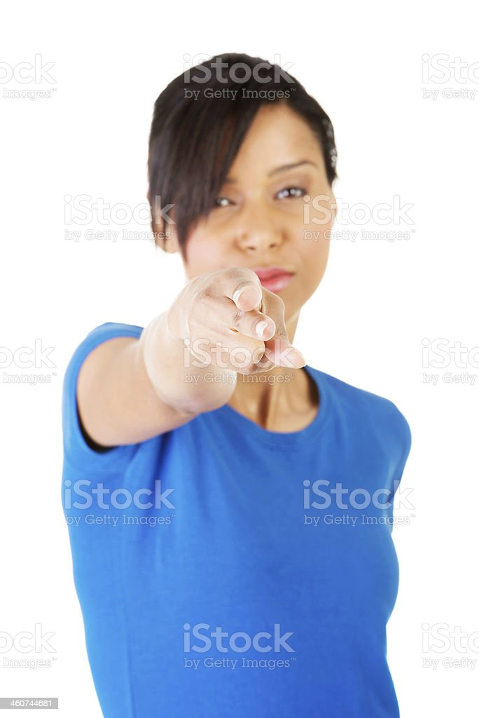 Young beautiful woman pointing on you royalty-free stock photo