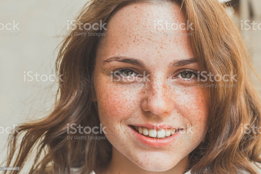 Young Beautiful Woman Portrait happy Outdoors stock photo