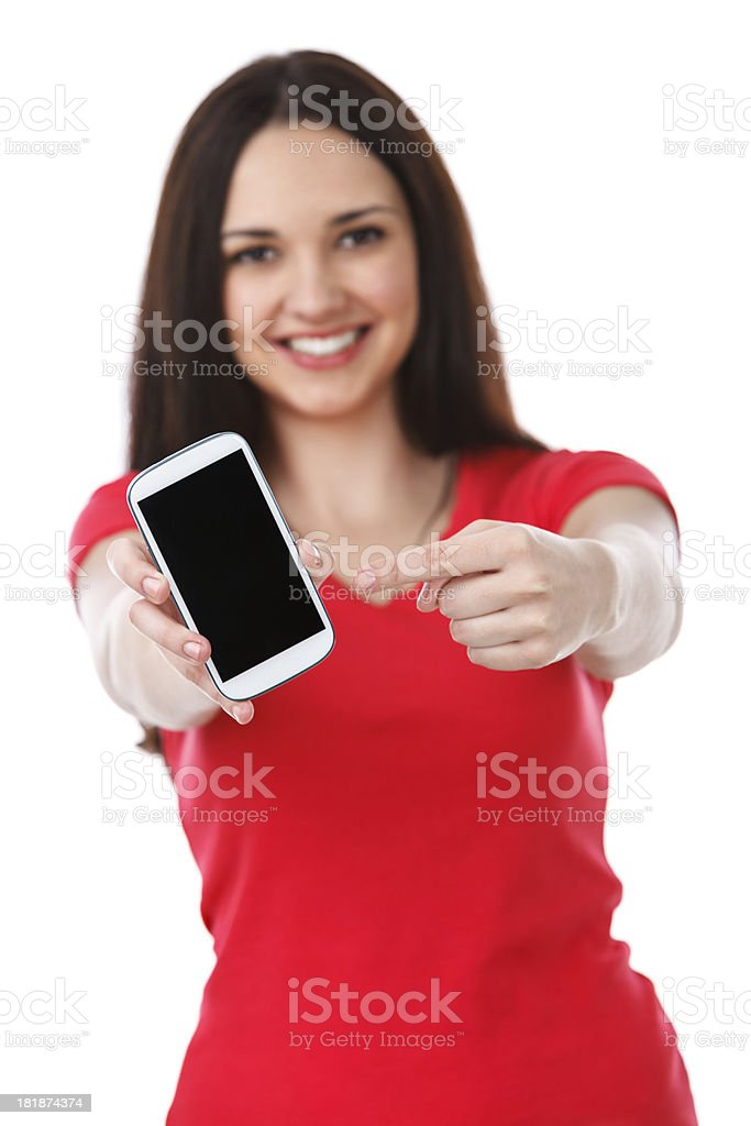 Young Beautiful Woman Showing Smart Phone royalty-free stock photo