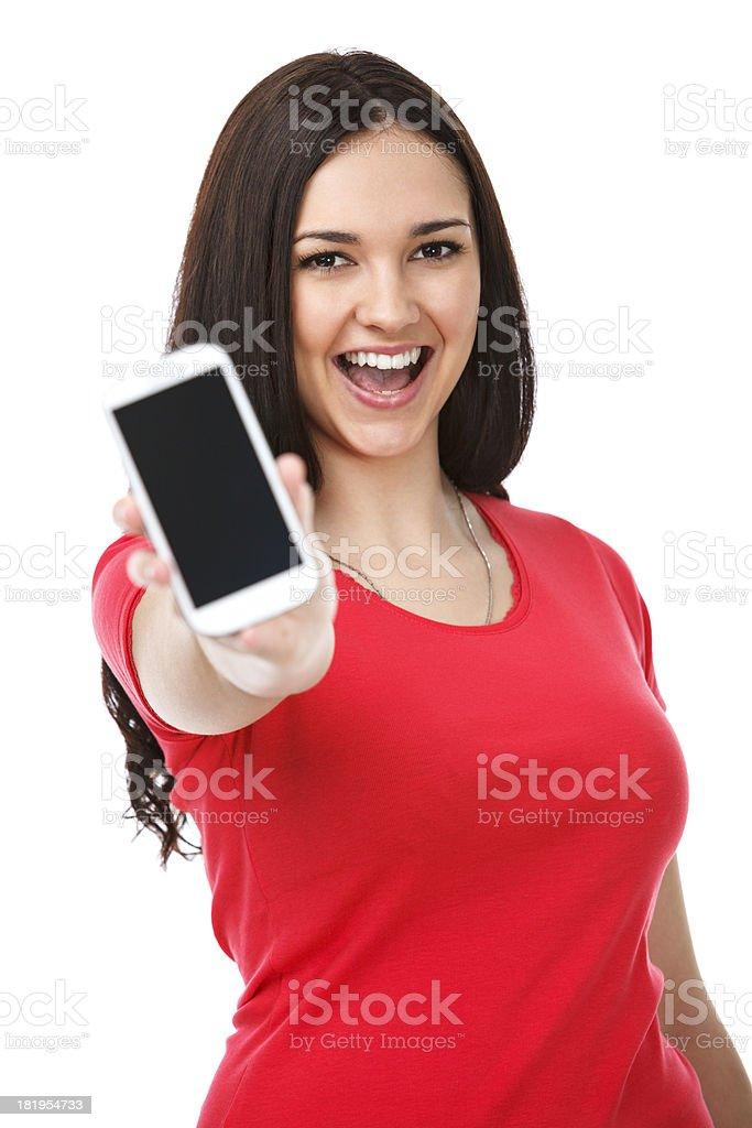 Young beautiful woman showing smart phone stock photo