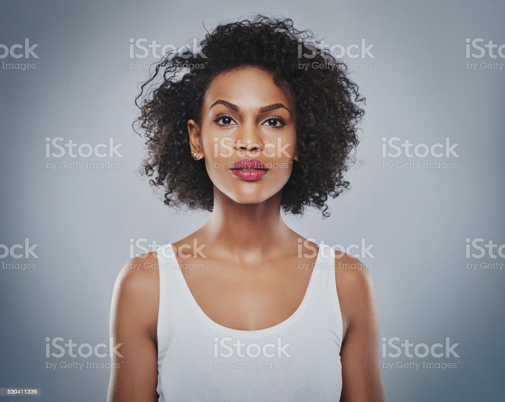 Young beautiful woman staring stock photo