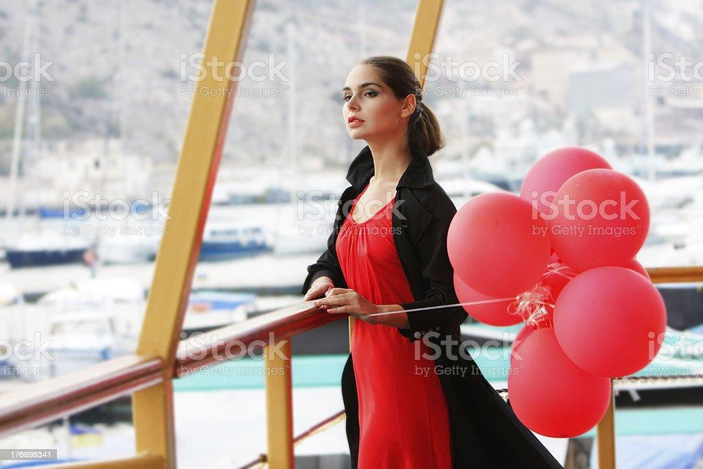 young beautiful woman waiting for smb stock photo