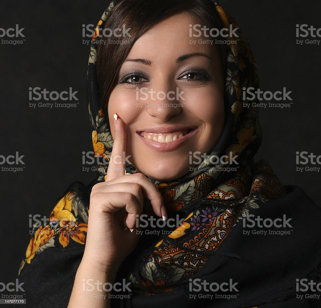 Young Beautiful Woman Wearing National Russian Headscarf royalty-free stock photo