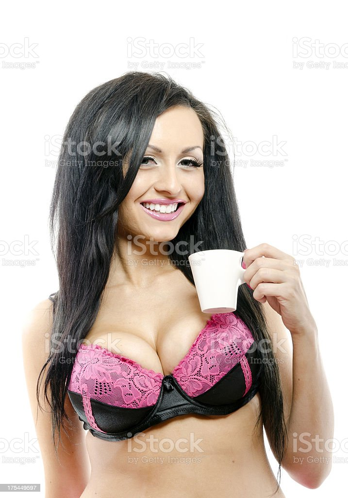 young Beautiful woman with cup of coffe stock photo