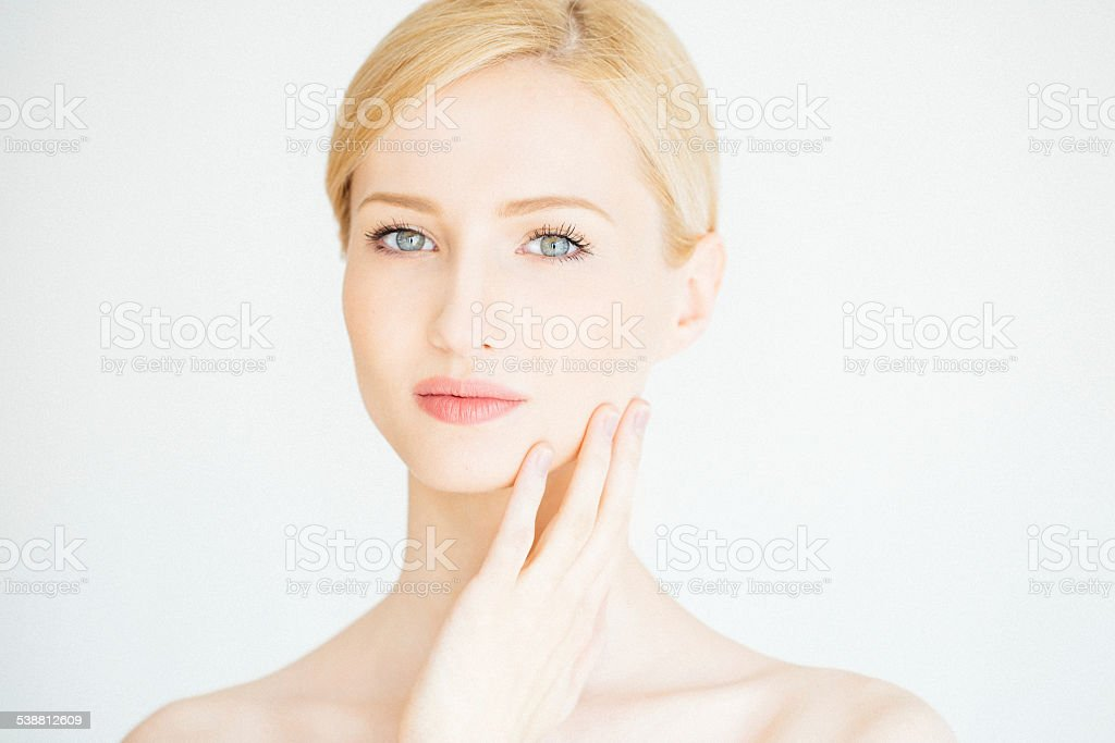 Young beautiful woman with natural makeup stock photo