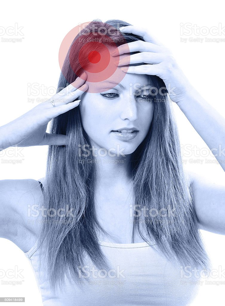 Young beautiful woman with severe headache royalty-free stock photo