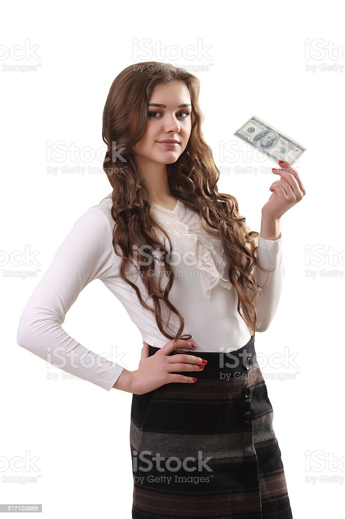 young beautiful woman with us dollar money in hand royalty-free stock photo