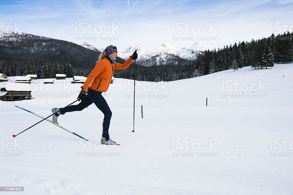Young beautiful women at cross country skiing - classic style royalty-free stock photo