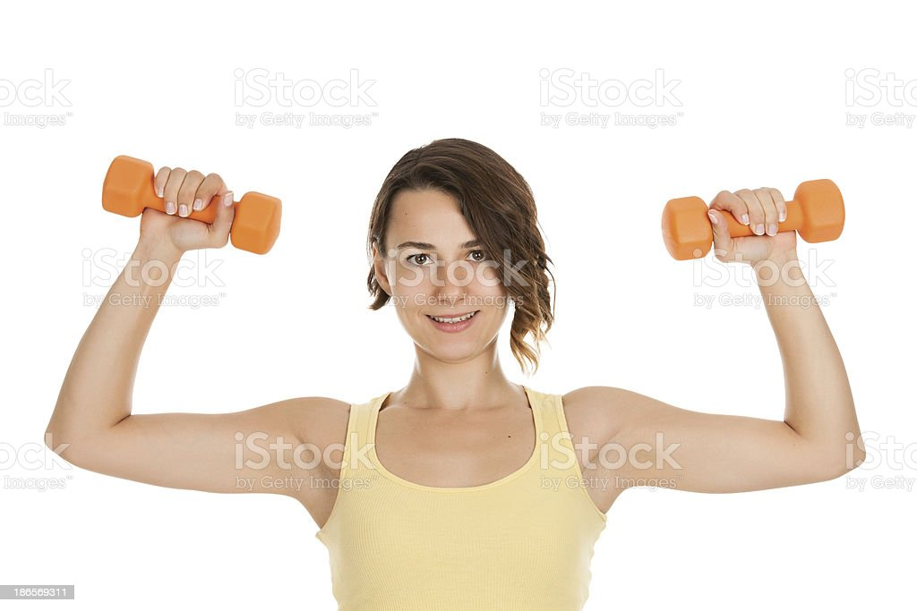 Young Beautiful Women Exercising with weights royalty-free stock photo