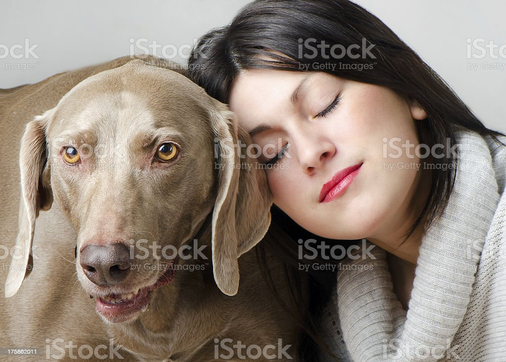 Young beautiful  women with dog royalty-free stock photo