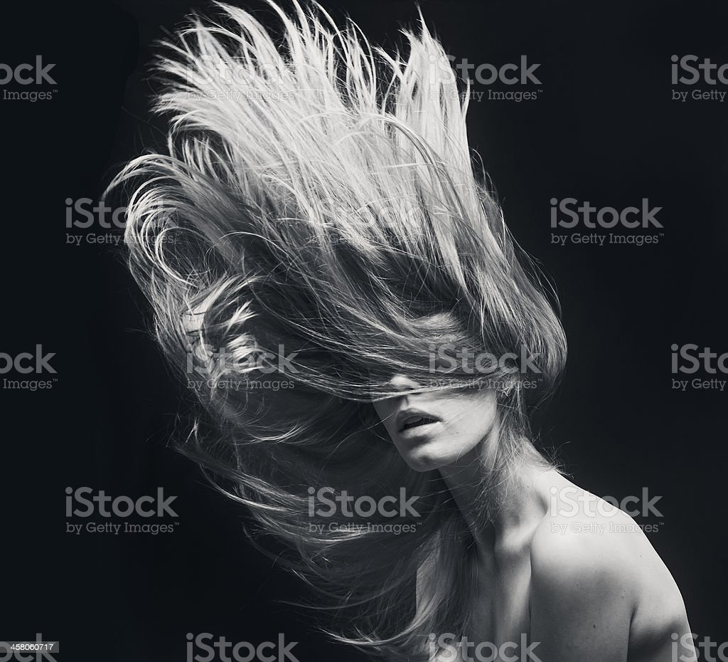 young beautiful women with flying hair stock photo