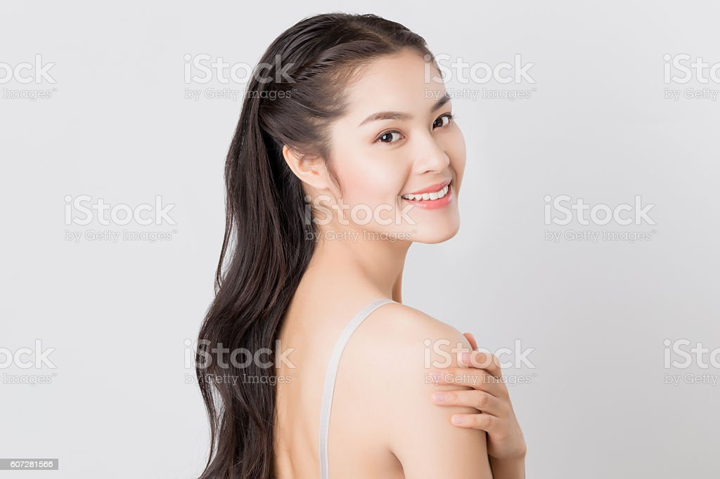 Young beauty Asian woman with healthy skin and eyes care stock photo