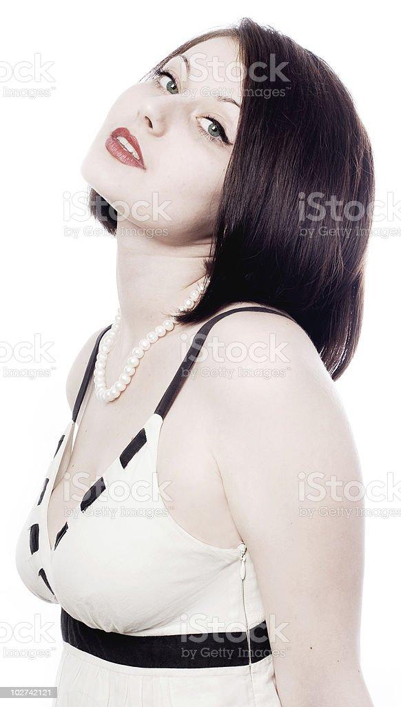 Belleza joven mujer en vestido blanco foto de stock libre de derechos