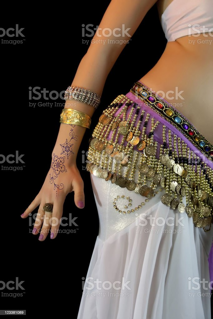 Young Belly Dancer, mid section, abdomen close-up stock photo