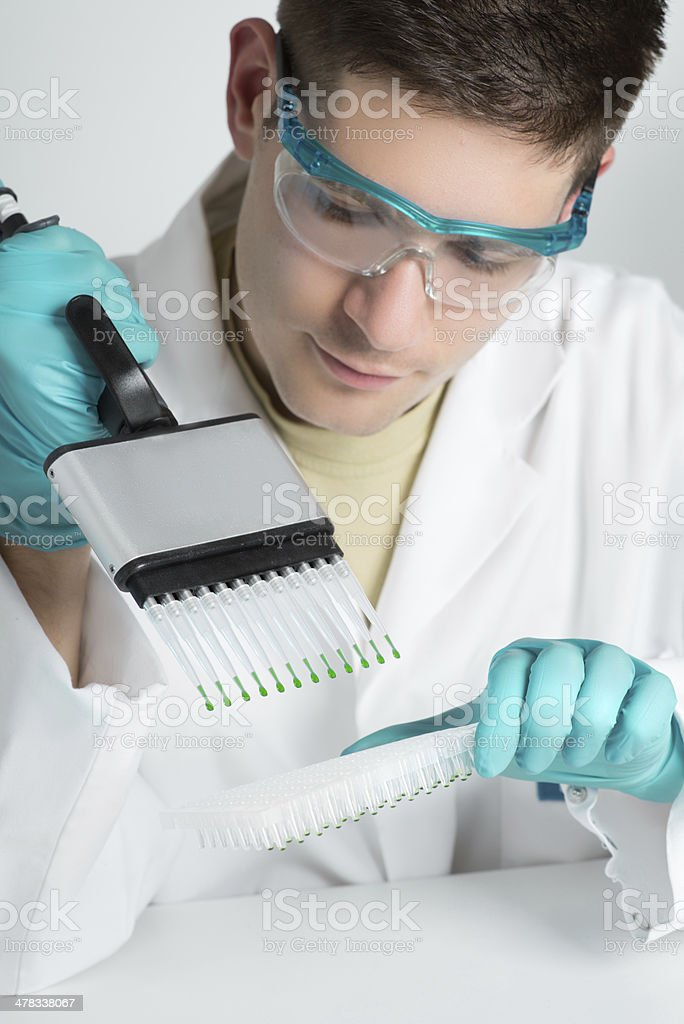 Young biologist sets up PCR reaction stock photo