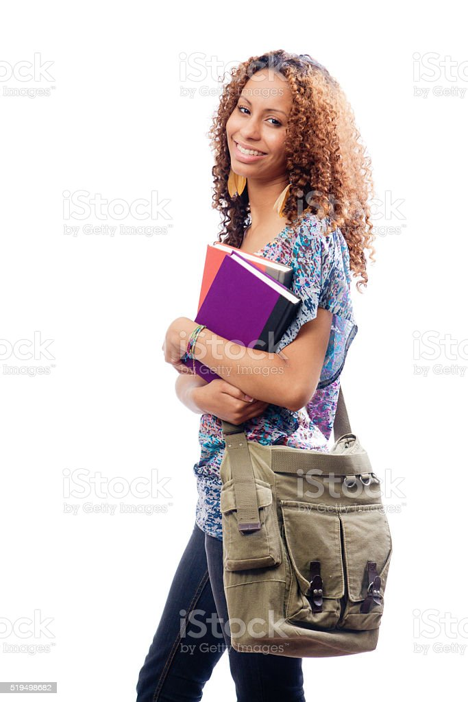 Young Black African American Woman College Student on White Background stock photo