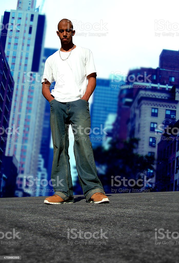 Young black boy in the city (2 of 2) royalty-free stock photo